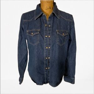 New York and Company denim long sleeve button down